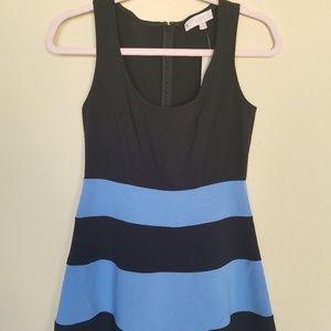 Loft black and blue striped dress